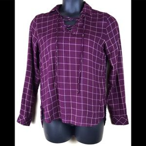 Harper Plaid Pullover Lace up Tunic Size XS